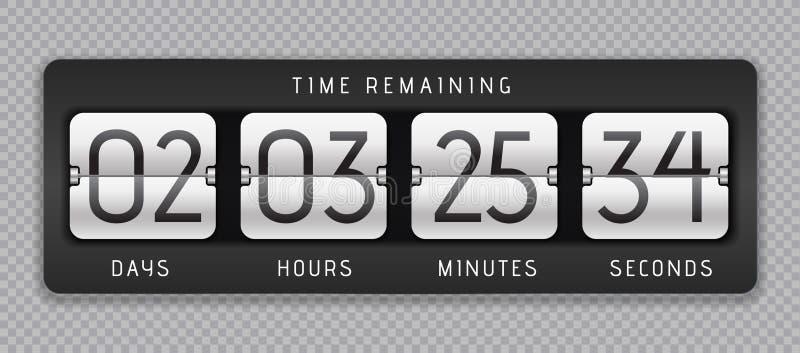 Reloj del tirón de la cuenta descendiente Contador de Digitaces, tiempo análogo o marcador, contador restante de la bandera del t ilustración del vector