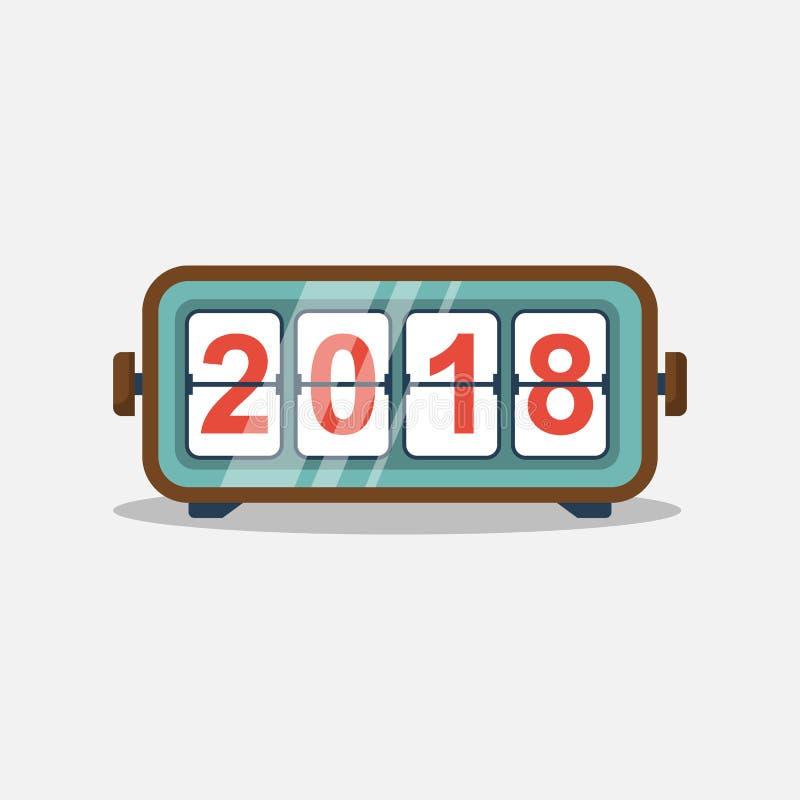 Reloj del tirón de la Feliz Año Nuevo 2018 ilustración del vector