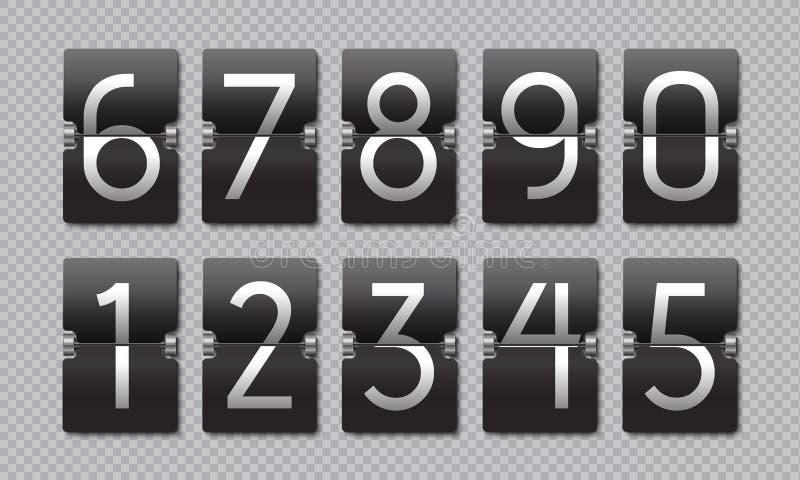 Reloj del tirón del negro de la cuenta descendiente El panel retro del marcador, bandera restante análoga del tiempo, contador di stock de ilustración