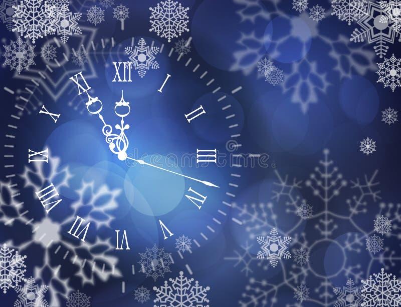 Reloj del vector de la Navidad ilustración del vector