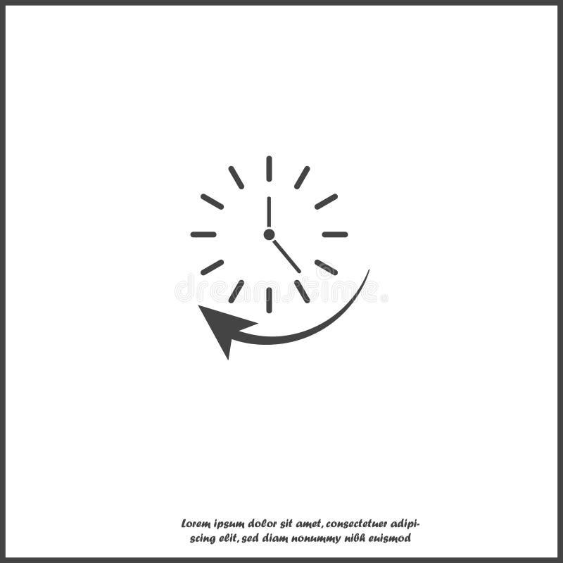 Reloj del vector e icono de la flecha que indica la dirección a la derecha, tiempo para arriba en el fondo aislado blanco libre illustration