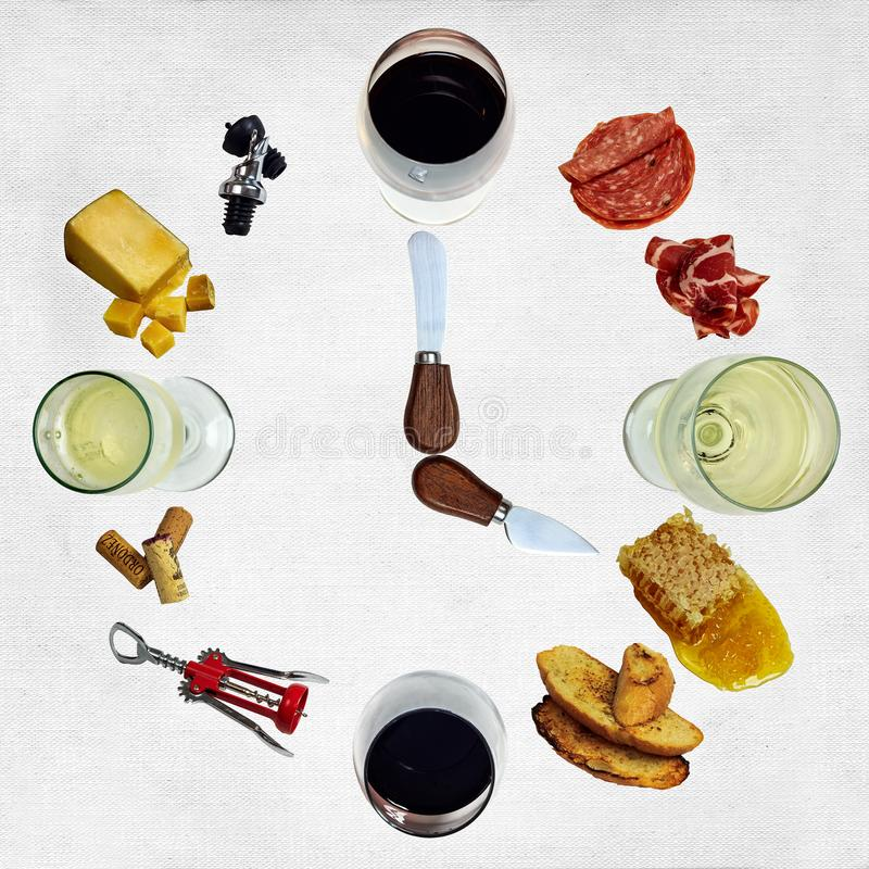 Reloj del ` del vino o imágenes de archivo libres de regalías