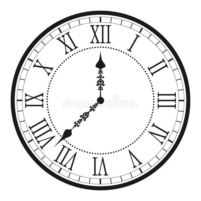 Reloj del vintage con el número romano Dial antiguo de la reloj-cara de la pared Vector ilustración del vector