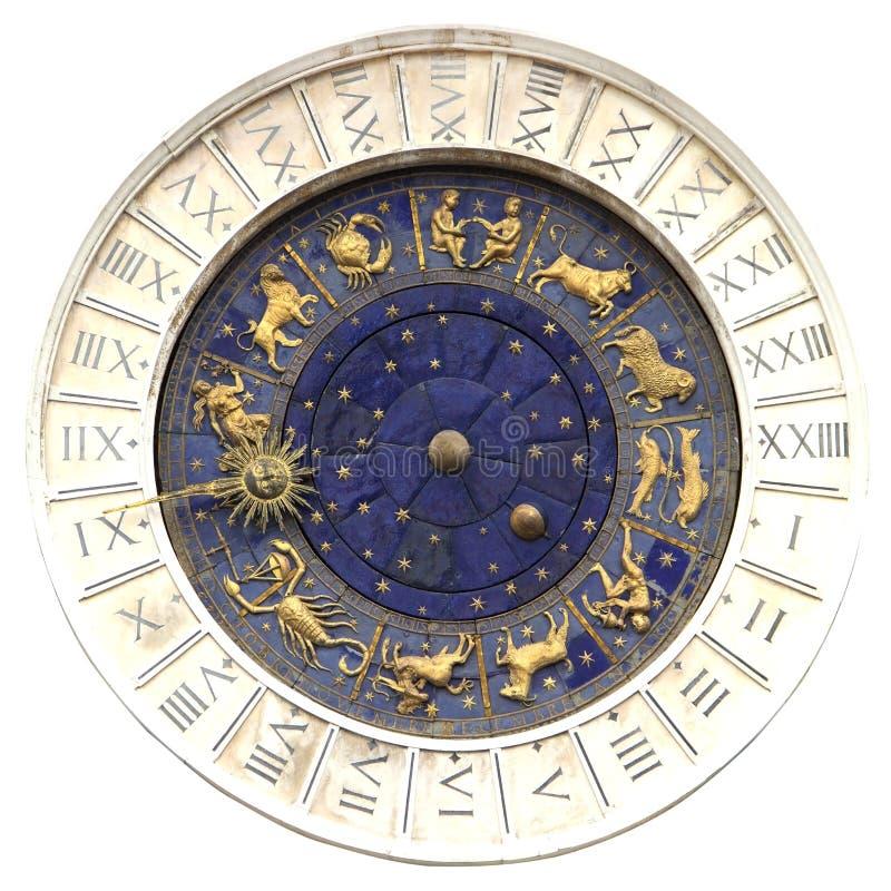 Reloj del zodiaco en el cuadrado de San Marco en Venecia fotos de archivo libres de regalías