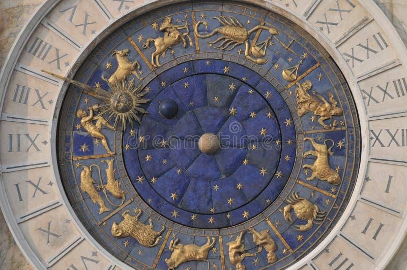 Reloj del zodiaco en Venecia fotos de archivo