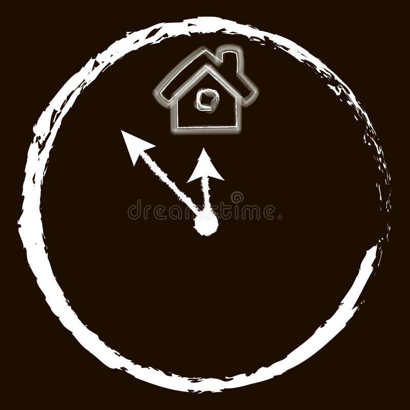 Reloj e icono casero en fondo negro stock de ilustración