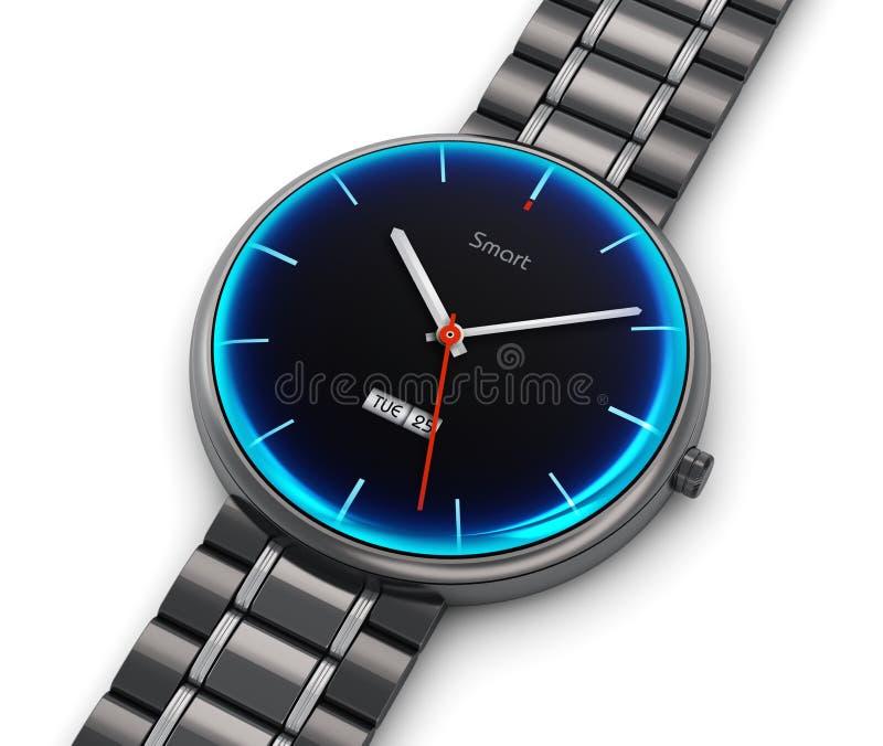 Reloj elegante de lujo del acero inoxidable ilustración del vector