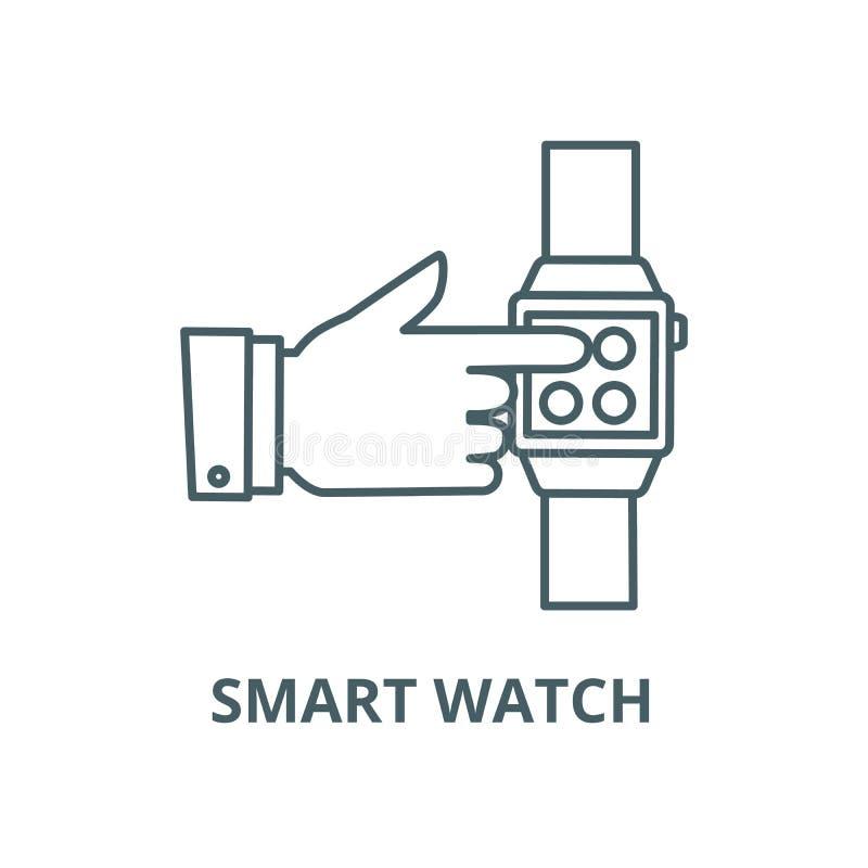 Reloj elegante, mano que toca la línea icono, concepto linear, muestra del esquema, símbolo del vector del reloj stock de ilustración