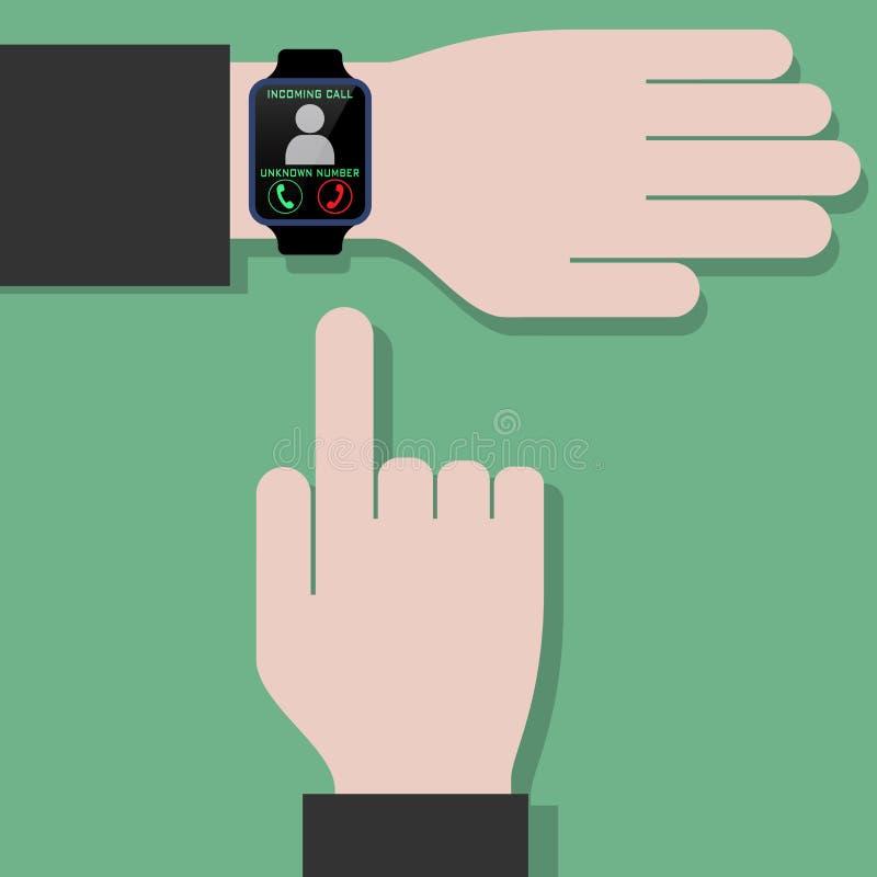 Reloj elegante que recibe llamada ilustración del vector