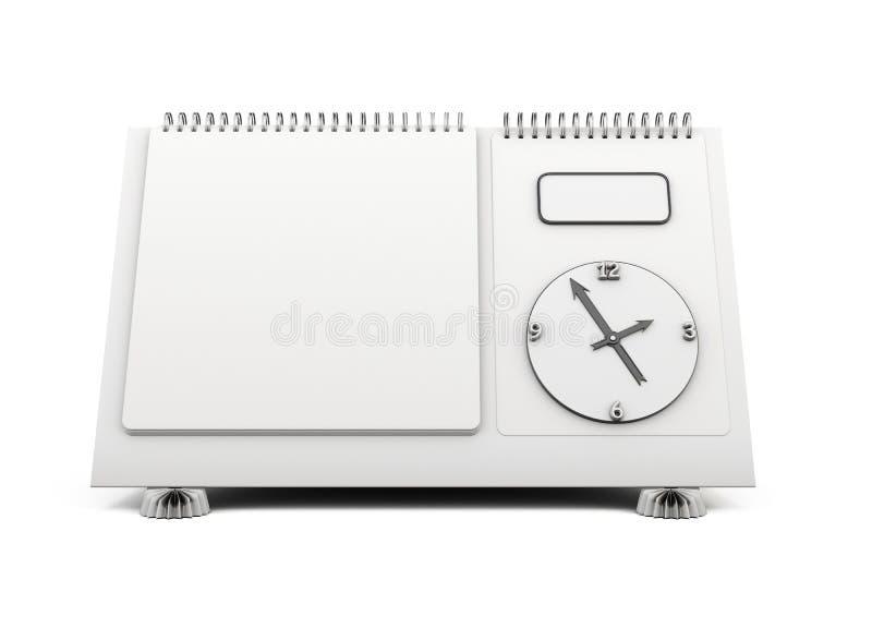 Reloj en blanco del calendario de escritorio en un blanco 3d ilustración del vector