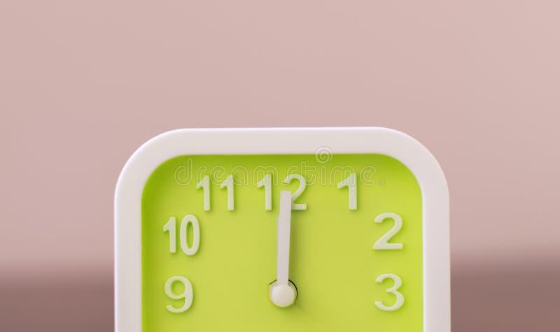Reloj en 12 El significado de 00 P.M. es hora de comer Pare el trabajar y vaya a e fotos de archivo libres de regalías