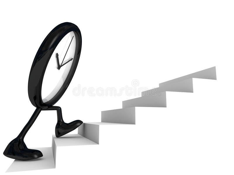 Reloj en los pasos de progresión de la cara stock de ilustración