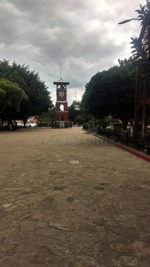 Reloj en Zaachila Oaxaca. The little town in Oaxaca near to the capital of the state, the archeological zone is very little only 2 tombs but with a very stock photos