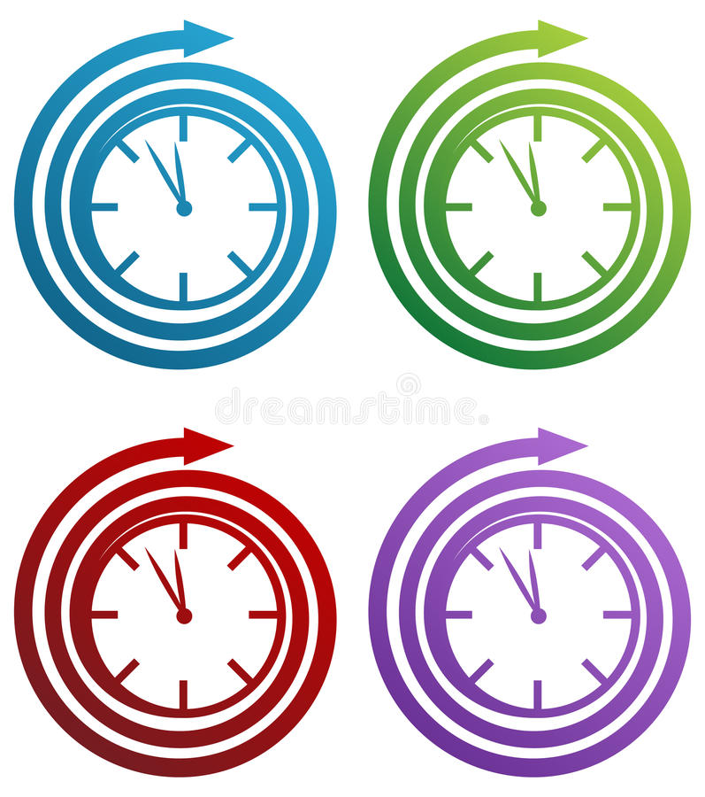 Reloj espiral stock de ilustración