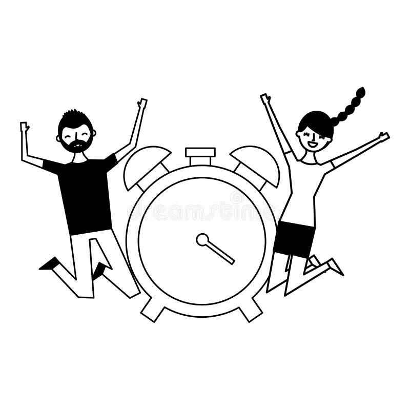 Reloj feliz del hombre y de la mujer libre illustration