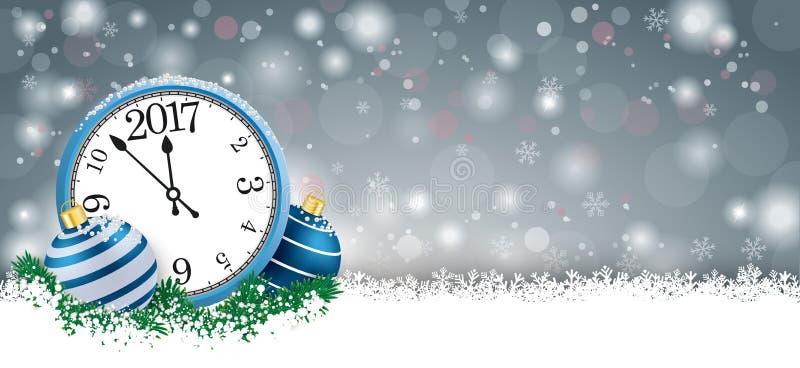 Reloj largo 2017 de Grey Christmas Card Blue Baubles ilustración del vector