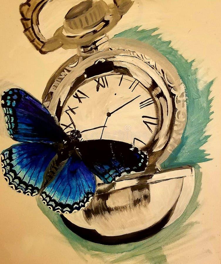reloj, mariposa imágenes de archivo libres de regalías