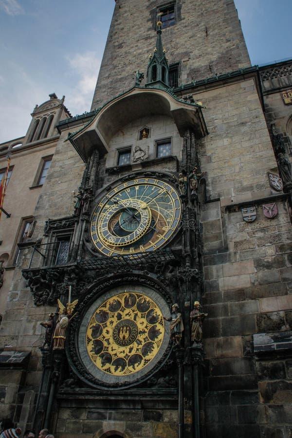 Reloj o Praga astronómico Orloja de Praga fotos de archivo libres de regalías