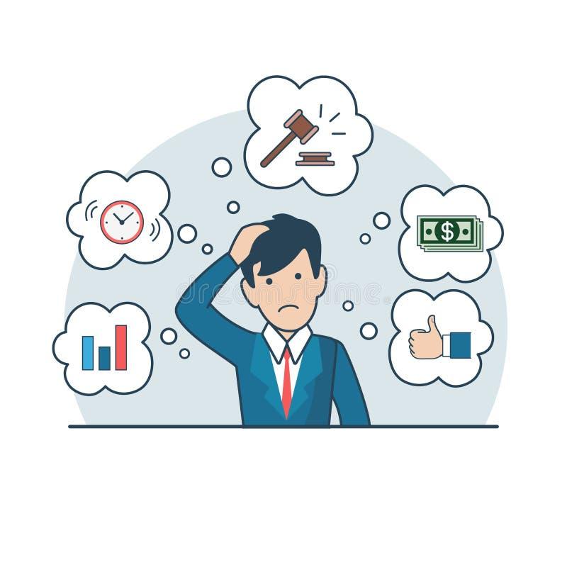 Reloj plano linear del dinero del mazo del hombre del préstamos del negocio ilustración del vector