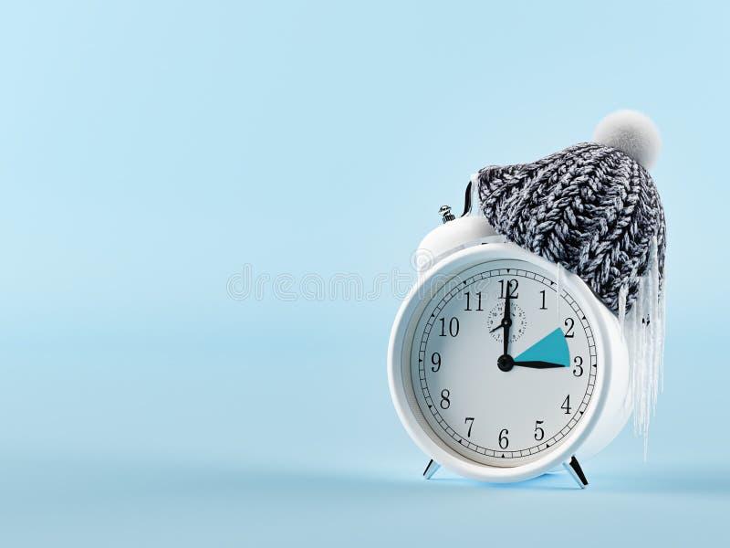 Reloj que cambia a partir de verano invierno Concepto del invierno representación 3d imagen de archivo libre de regalías