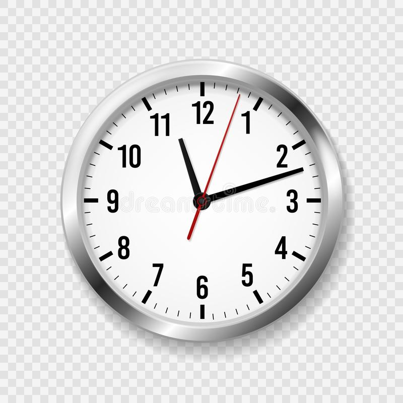 Reloj realista de la oficina La pared moderna redonda mira con las flechas del tiempo y la cara de reloj horario clásico del relo stock de ilustración