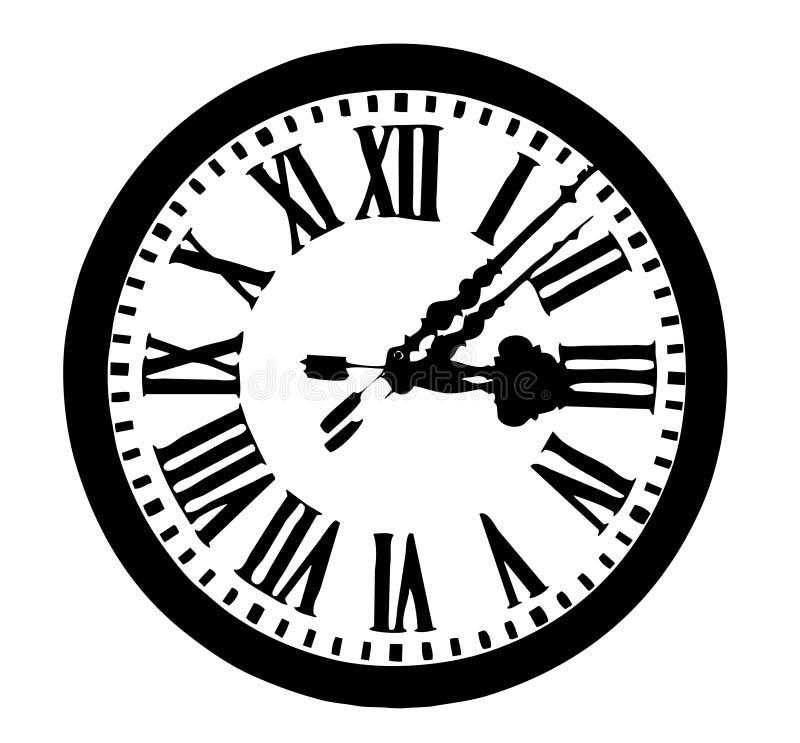 Reloj redondo antiguo ilustración del vector