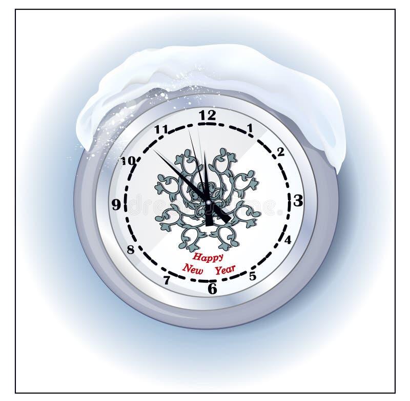 Reloj redondo con el saludo del día de año nuevo ilustración del vector