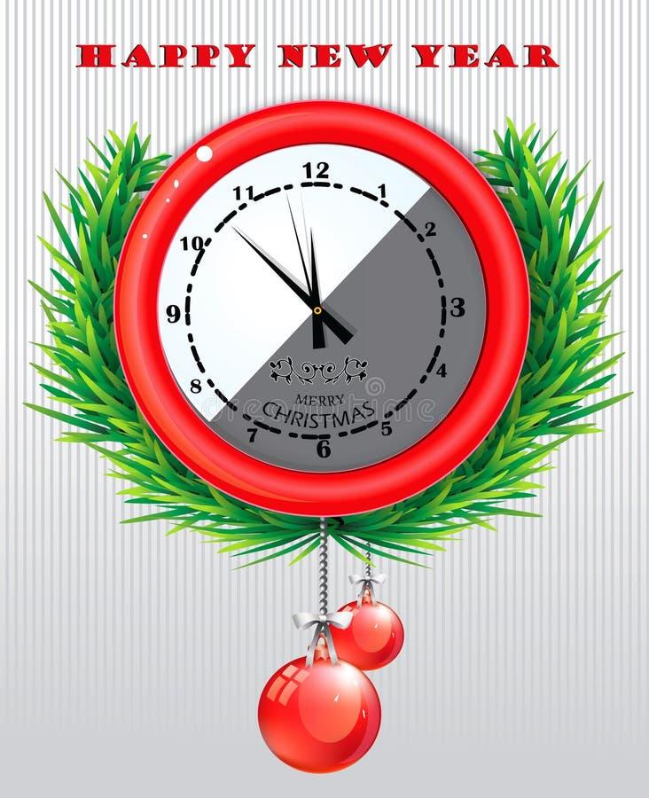Reloj redondo con el saludo del día de la Navidad ilustración del vector