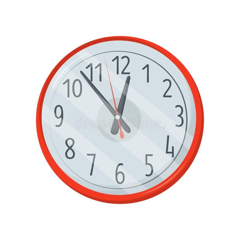 Reloj redondo rojo clásico con el dial blanco, números negros grandes y flechas Elemento de la decoración de la pared Diseño plan ilustración del vector