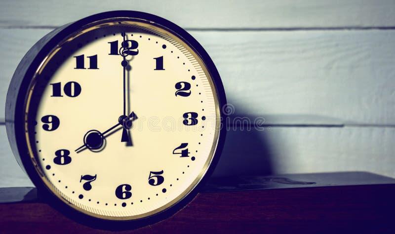 Reloj, reloj retro del ` del vintage ocho o fotografía de archivo libre de regalías