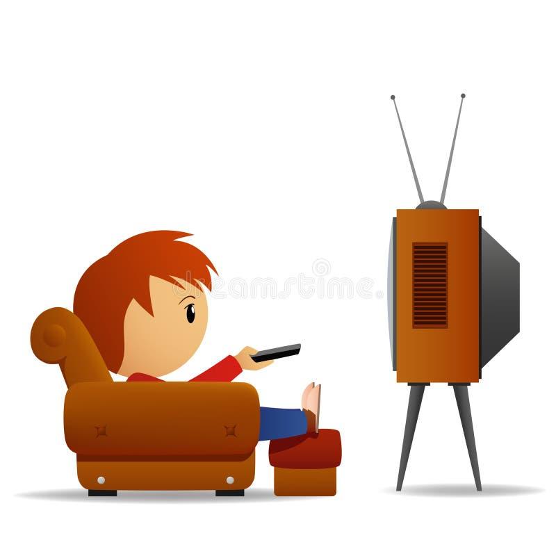 Reloj TV del hombre de la historieta ilustración del vector