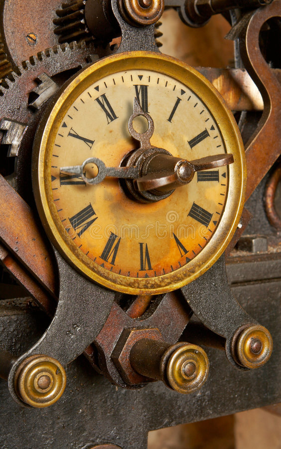 Reloj viejo del grunge imagenes de archivo