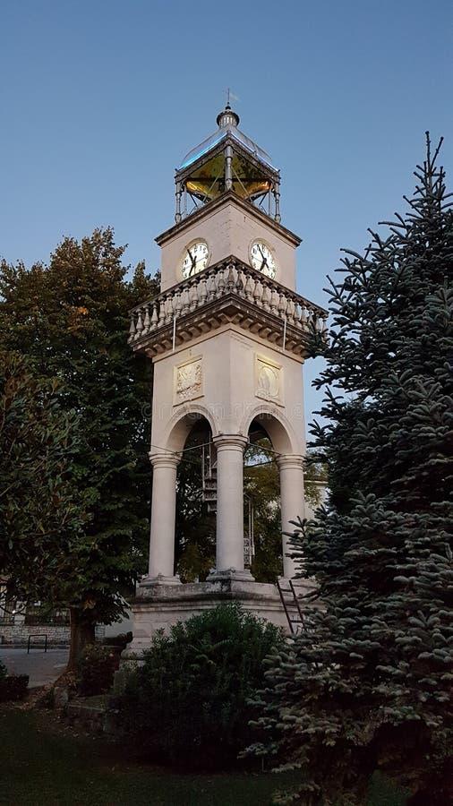 Reloj viejo en el afternnoon de Grecia del epirus de la ciudad de Ioannina imagen de archivo libre de regalías
