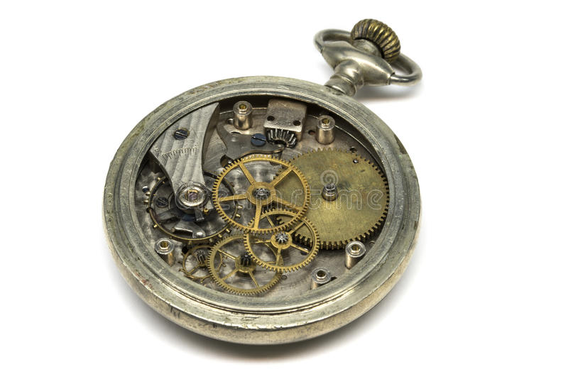 Reloj y cristales viejos en el fondo blanco fotografía de archivo libre de regalías