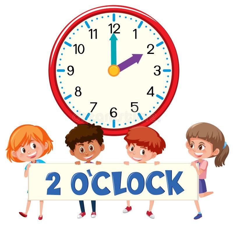 reloj y estudiantes del ` de 2 o ilustración del vector