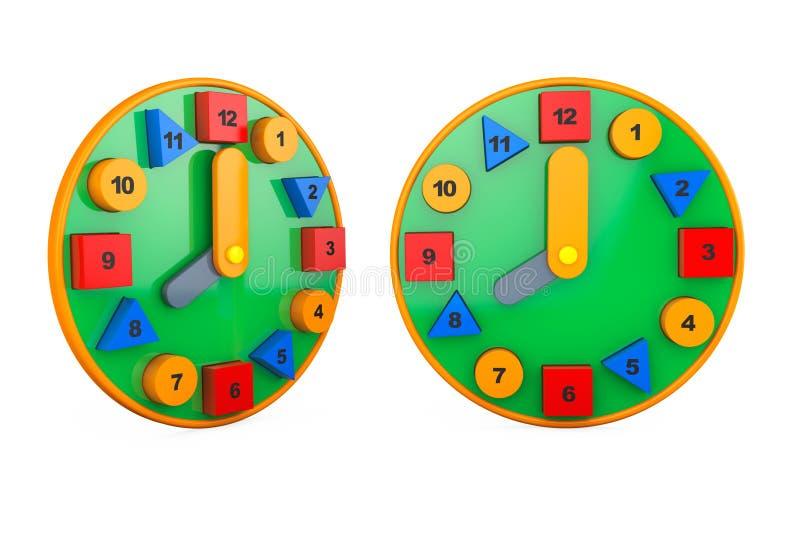 Relojes coloridos del juguete representación 3d imágenes de archivo libres de regalías