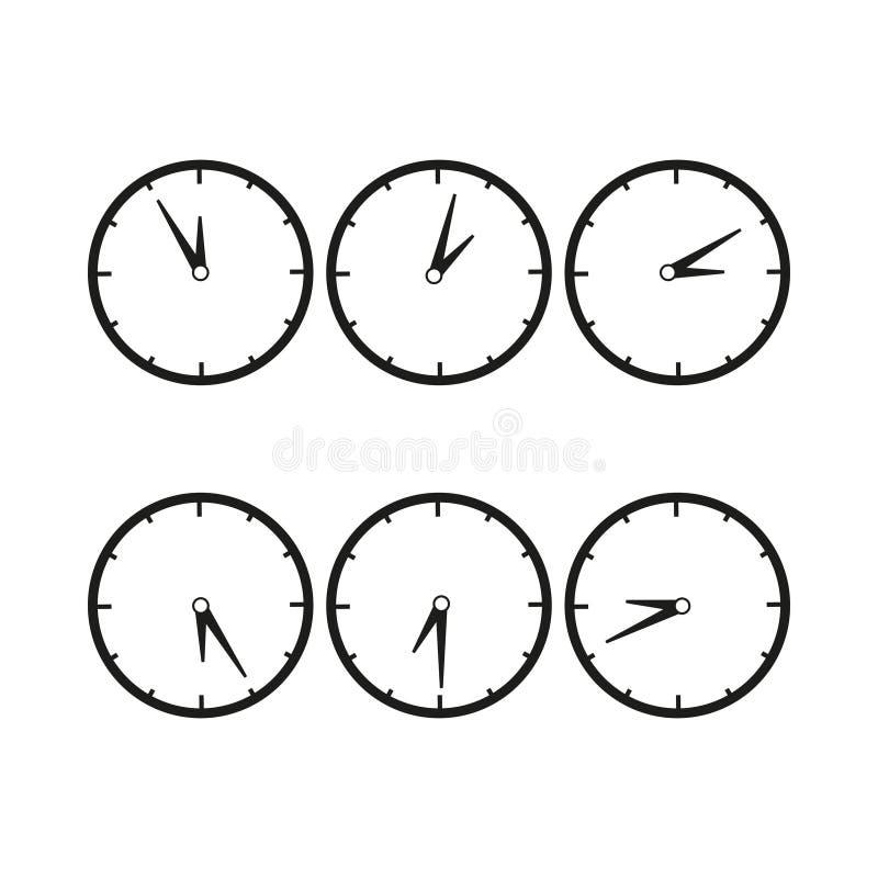 Relojes con el icono del tiempo de la diferencia ilustración del vector