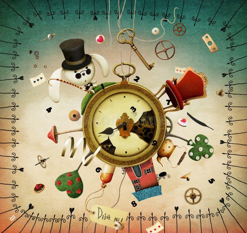 Relojes con los artículos fabulosos ilustración del vector
