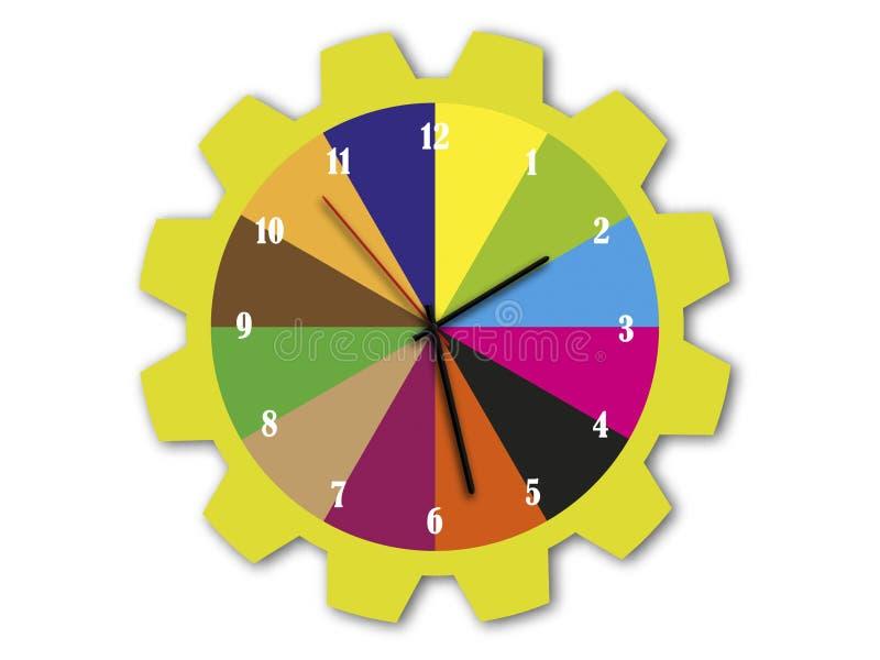 Relojes con transiciones del color en la rueda de engranaje libre illustration