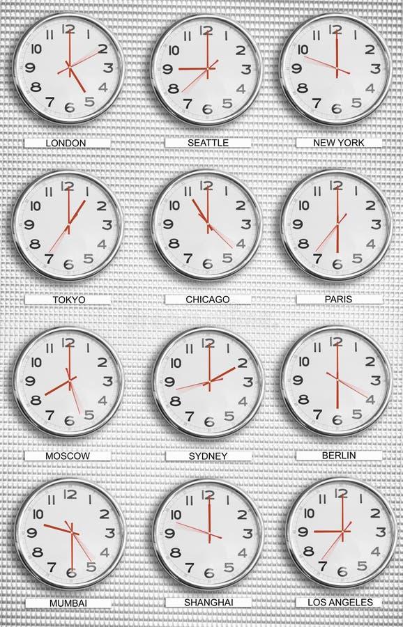 Relojes de la zona horaria foto de archivo libre de regalías