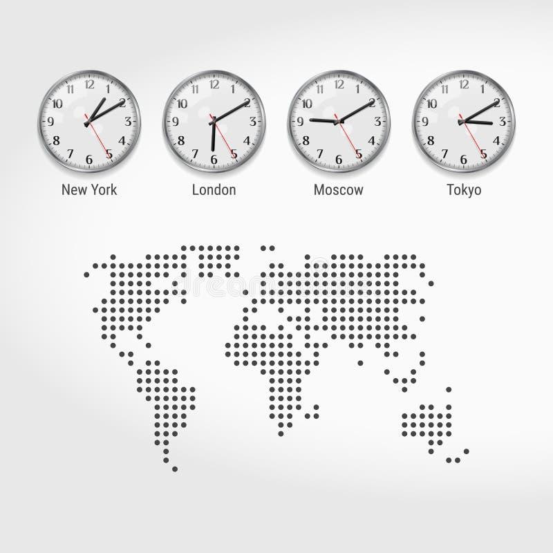 Relojes de las zonas de hora mundial Hora actual en ciudades famosas Hora local en todo el mundo Mapa punteado del mundo Arte del ilustración del vector