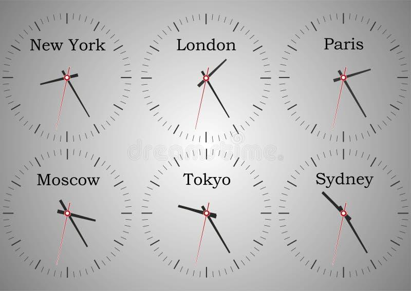 Relojes de pared de la recepción del hotel que muestra la época del mundo stock de ilustración
