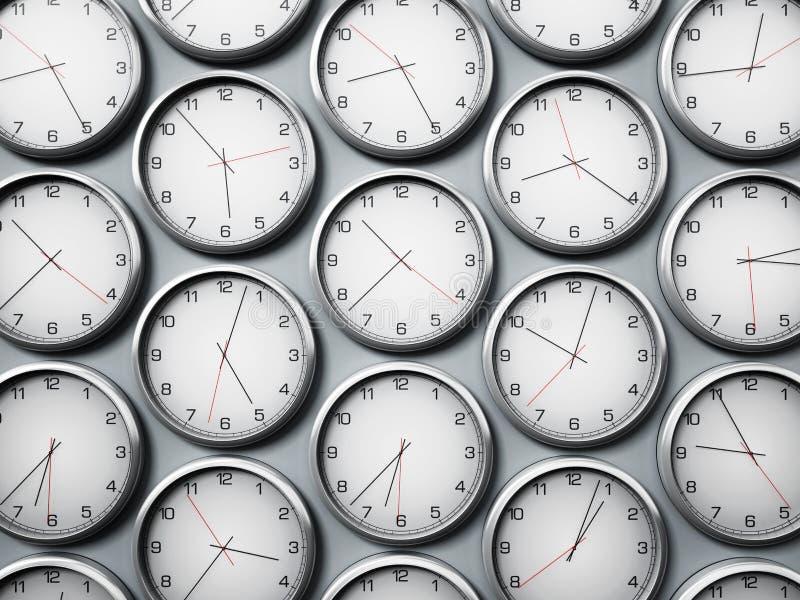 Relojes de pared modernos que muestran zonas de momento diferente de las ciudades del mundo ilustración 3D ilustración del vector