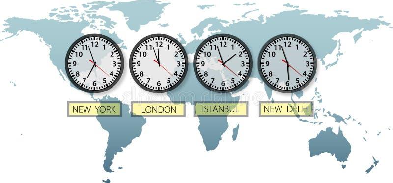Relojes de tiempo de la ciudad de la tierra del recorrido en correspondencia de mundo libre illustration