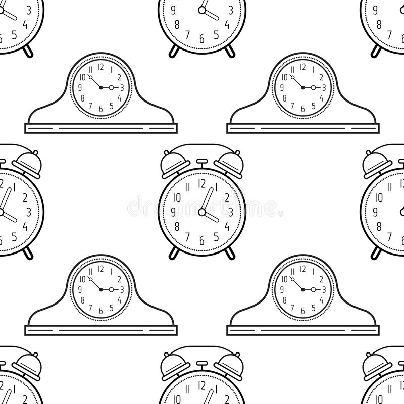 Relojes Del Despertador Y De La Chimenea Modelo Inconsútil Blanco Y ...