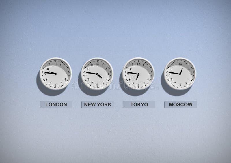 Relojes del negocio en la pared azul imágenes de archivo libres de regalías