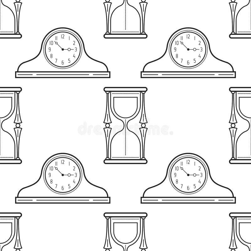 Relojes Del Reloj De Arena Y De La Chimenea Modelo Inconsútil Blanco ...