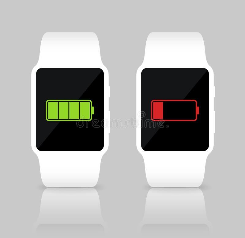 Relojes elegantes blancos con el icono completo y bajo de la batería Ilustración del vector ilustración del vector