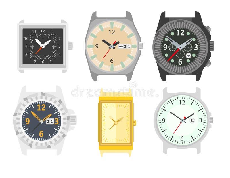 Relojes fijados Accesorio elegante para los hombres ilustración del vector