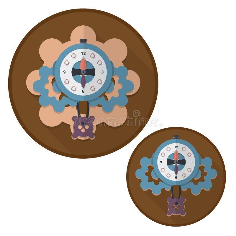 Relojes mecánicos del icono en estilo plano Ilustración del vector ilustración del vector